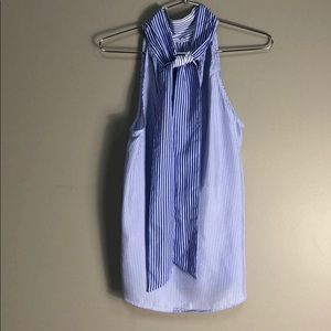 J CREW Silk Blue & White Striped Top. Size 4